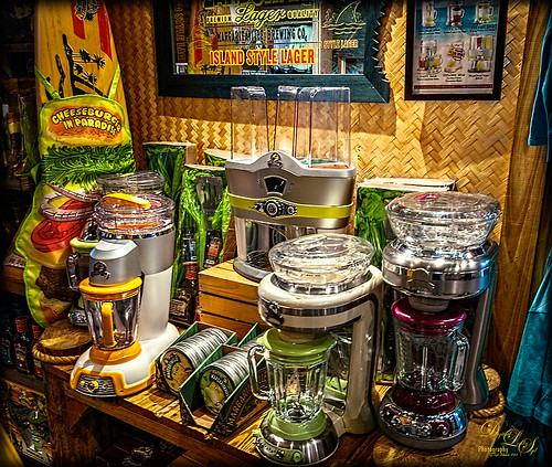 Image of brightly colored mixers at Margaritaville in Orlando, Florida