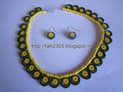 Handmade Jewelry - Paper Quilling Necklace and Earrings (1) by fah2305