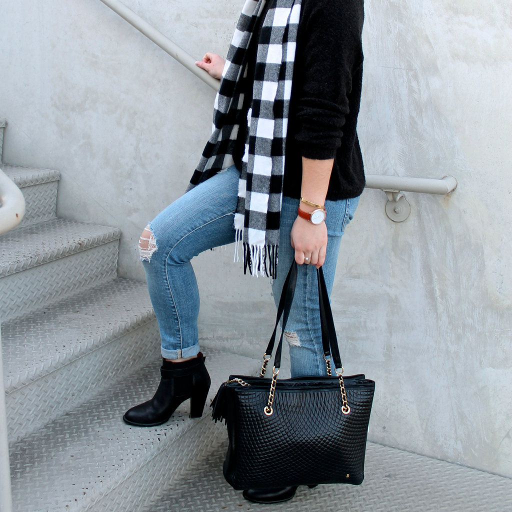 winter #outfit idea: black ankle booties and destroyed #denim