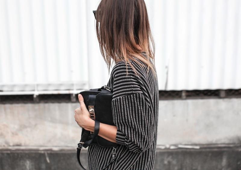 modern legacy fashion blog australia minimalist monochrome street style Topshop Boutique sweatshirt Saba silk straight leg pants Tibi heels Proenza Schouler PS11 Mini Satchel bag Ray Ban oversized wayfarers (4 of 5)