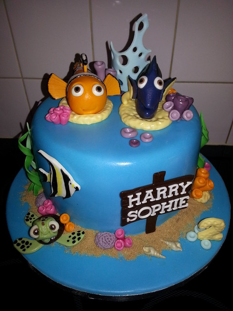 Twins under the sea 2nd birthday cake with nemo and dori x  Flickr ...