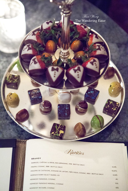 Bonbons (in-house made) and chocolate covered tuxedo strawberries at Rarities