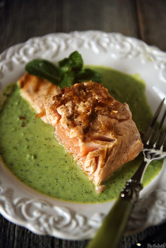 Grilled King Salmon with Peas and Mint