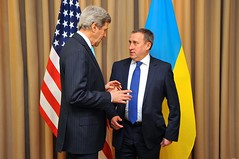 Secretary Kerry Shakes Hands With Ukrainian Foreign Minister Deshchytsia Before Meeting With Russians