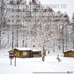 ที่ #คาริวซาว่า วันนี้ #หิมะตก ปรอยๆ และคืนนี้ น่าจะตกทั้งคืน ตอนนี้ ประมาณ 0°C และ RealFeel:registered: -2°