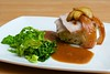 Roast pork, caramelised apple, cracking, crushed new potatoes, braised Savoy cabbage, cider gravy