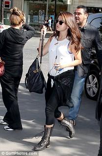 Selena Gomez Studded Biker Boots Celebrity Style Women's Fashion