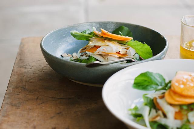 persimmon, fennel + rocket salad