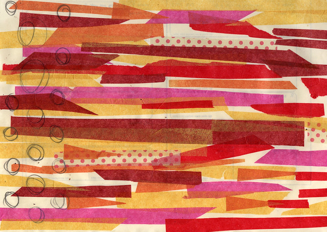 Yellow and red tissue paper strips
