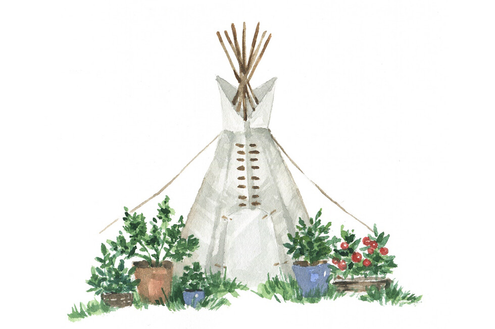 Watercolor tipi art by Dara Muscat