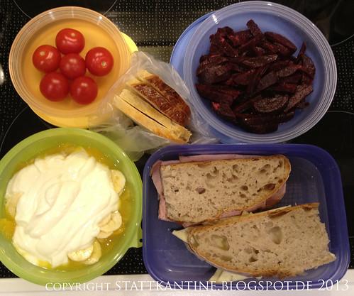 Stattkantine 8. Februar 2013 - Leber- und Butterkäse, Tomaten, Rote Bete, Joghurt