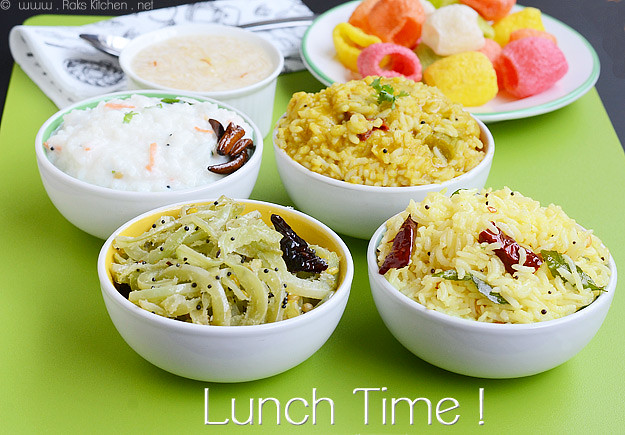 Variety lunch - Lemon rice, sambar rice, curd rice, podalangai poriyal, semiya payasam, coloured vadams