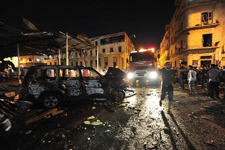 Damage from an explosion in Benghazi, Libya on July 28, 2013. The country has been plunged into chaos since the overthrow and assassination of Gaddafi. by Pan-African News Wire File Photos