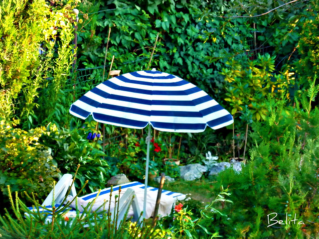 BLUE AND WHITE STRIPED PARASOL