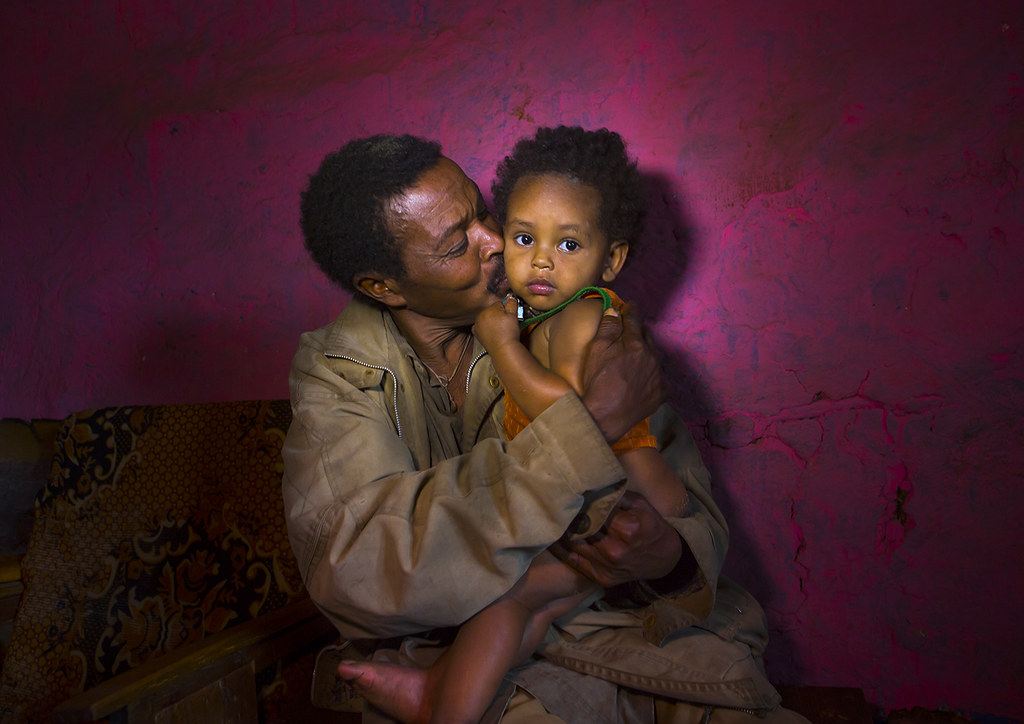 Father And Her Daughter in A Bar, Jinka, Omo Valley, Ethiopia