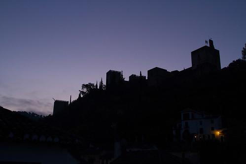 night sunrise spain clear alhambra granada andalusia