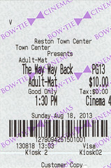 The Way, Way Back ticketstub