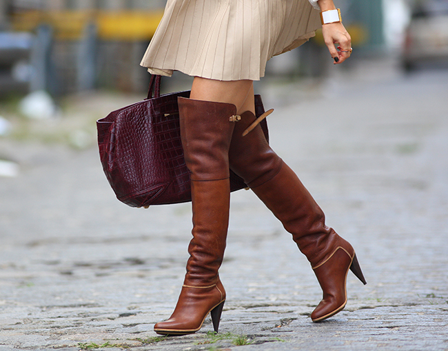 brown leather over the knee boots