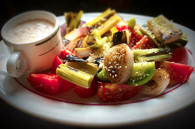 Grilled Leeks, Red Onions with Tomatoes and Thousand Island Dipping Sauce from Food52