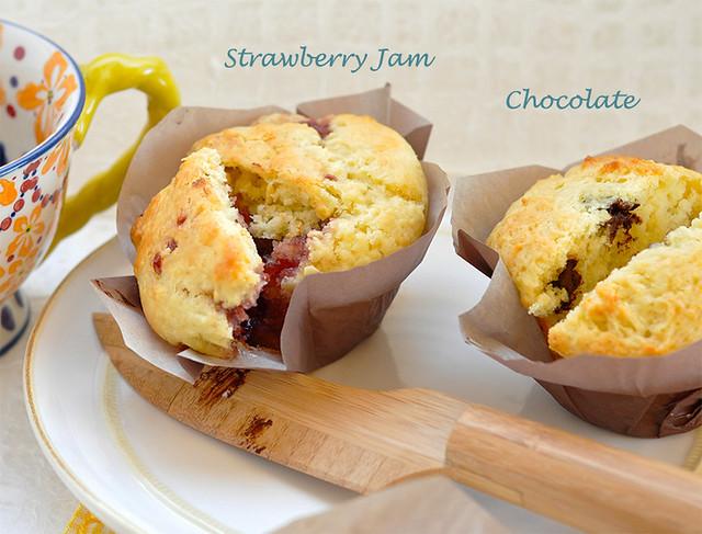 Happy Surprise Muffins - Strawberry Jam & Chocolate