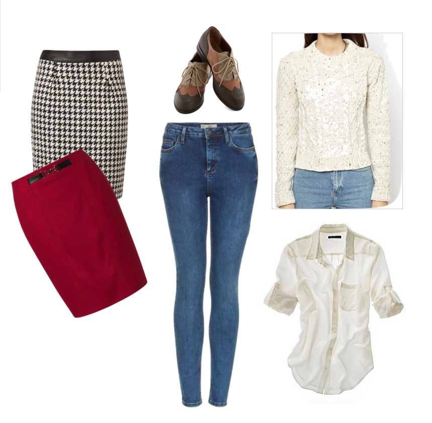 fall wishlist, pencil skirt, oxford shoes, jeans, sweater, shirt, white, clothes,