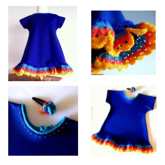 Vestido azulón con volante a crochet