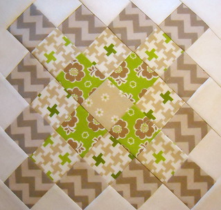 Great Granny block in Lori Holt green and gray
