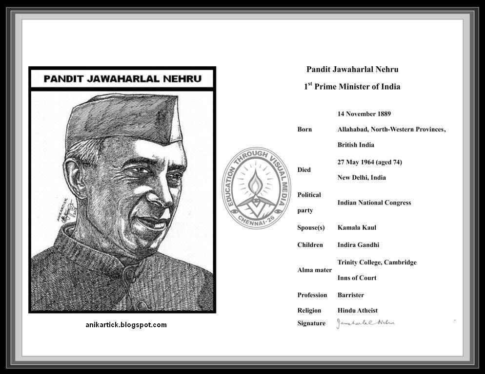 Pandit Jawaharlal Nehru Drawing Nehru Pandit Jawaharlal
