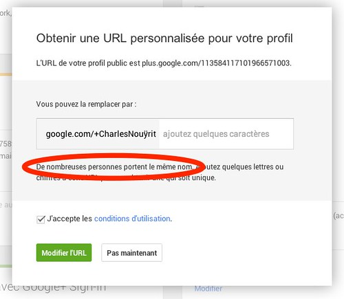 Hey Google+ vanity URL, nice prank