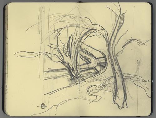 autumn sketch urbanlandscape cedarfallsiowa 5bpencil pocketsizemoleskine marciamilnerbrage