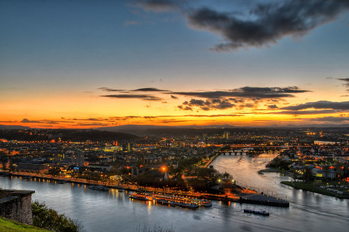 sunset night germany deutschland sonnenuntergang cloudy rhein koblenz rheinlandpfalz mittelrhein festungehrenbreitstein unescoweltkulturerbe nikond7000