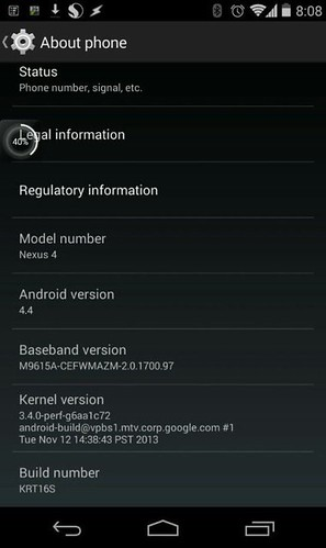 Android 4.4 для Nexus 4