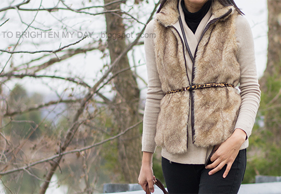 fur vest, camel open cardigan, black turtleneck