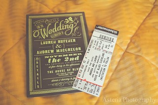 Wedding invitation and concert ticket save the date
