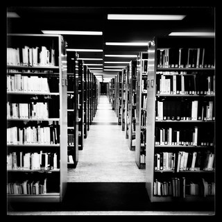 Cloistered in the library #montreal #mtl #514 #berri uqam #library #bookshelf #b&w #snapseed #picture of the day
