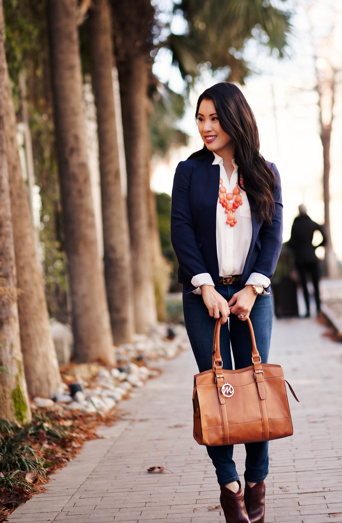 cute & little blog | navy blazer, white blouse, skinny jeans, leopard belt, coral bubble necklace, brown ankle booties outfit