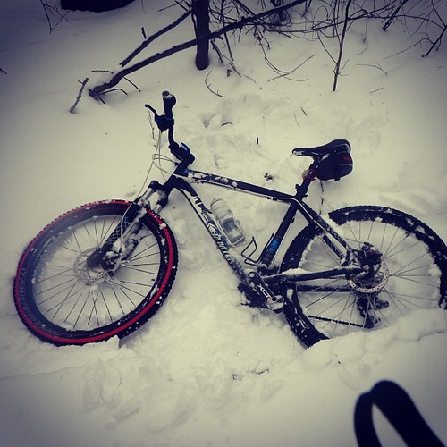 "Went bike riding in 10"" of snow. Made a lot of snow angels. #mtb #winter #snow #snowmaggeddon2014 #snowdaynumber4"