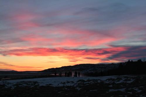 winter sunset sky people sun snow clouds iceland dusk geyser strokkur ísland haukadalur picmonkey:app=editor