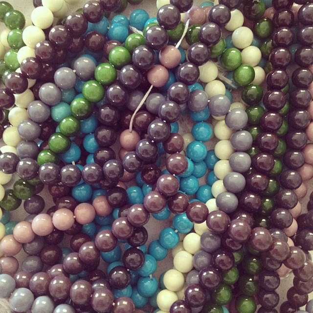 More goodies for an upcoming collection! I love the feel and the sound of glass beads, don't you? #glassbeads #colourlove #artistspalettecollection