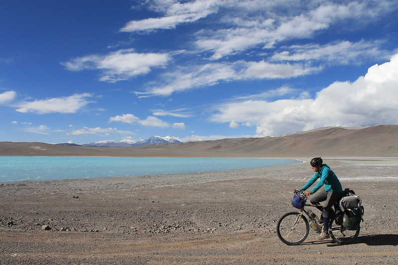 Cycling past Laguna Celeste