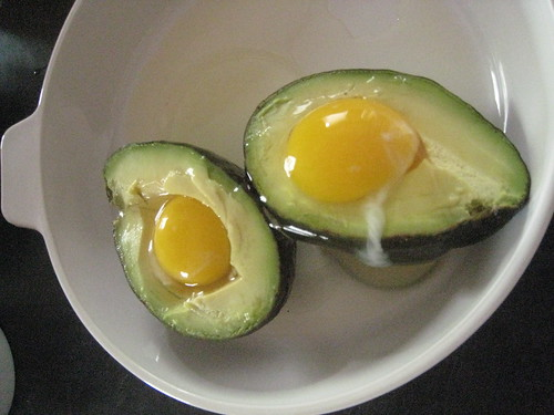 eggs baked in avocado halves
