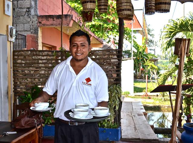 Waiter at La Danta Restaurant - Flores Restaurant