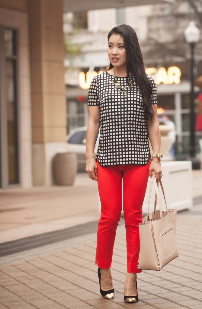 cute & little blog | windowpane silk shirt, red sloan pants, nude gallery tote, statement necklace outfit