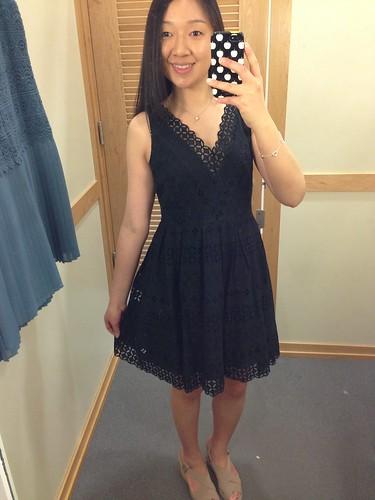 LOFT Geo cotton eyelet skirt dress