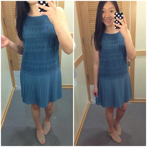 LOFT Lace pleated shirt dress