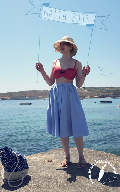 Malta June/July 2015, vacation, holyday, sea, beach, Marsaskala, made by me, sewing, skirt, vintage, Burda, pattern