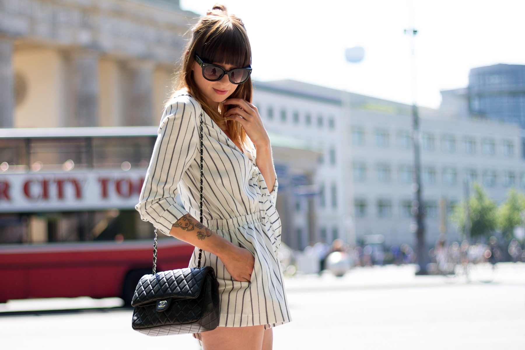 h&m trend white blue striped jumpsuit overall chanel double flap 2.55 birkenstock arizona prada sunglasses berlin fashion week cats & dogs ricarda schernus 7