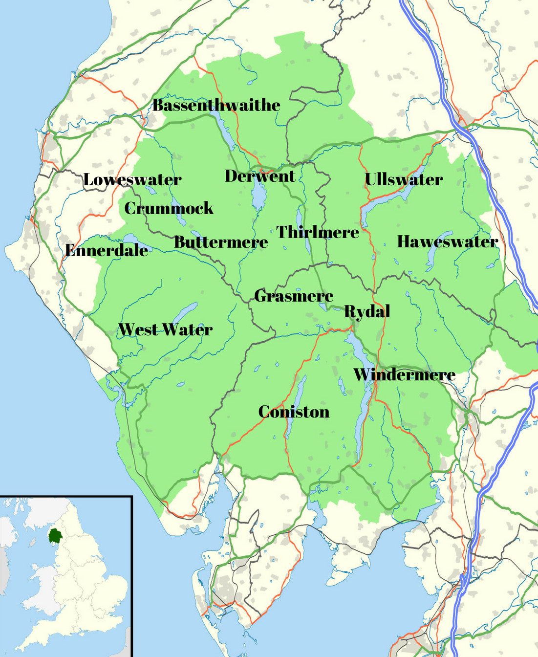 Map of the Lake District National Park, Cumbria