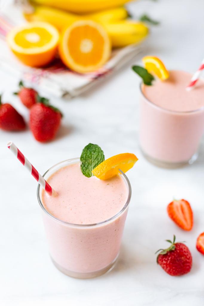 striped spatula strawberry banana yogurt smoothies recipe