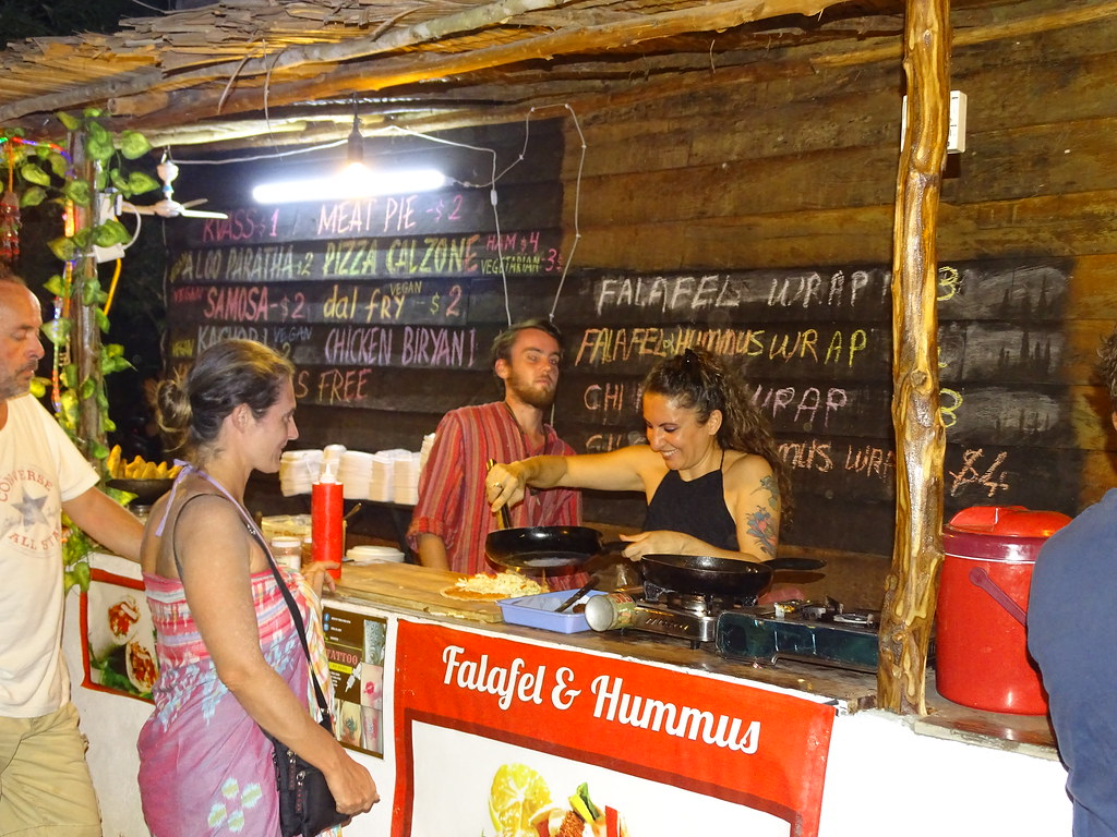Saturday night market Falafel humus stand. Otres Village.